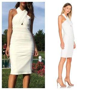 [Bardot] REVOLVE Ruched Criss Cross Halter Dress